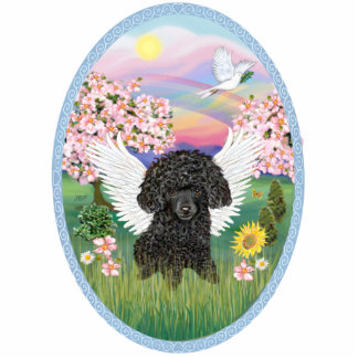Blossoms and BlackToy Poodle Standing Photo Sculpture