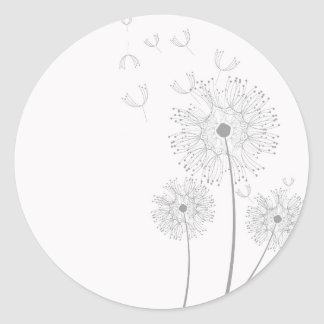 Blossoms Dandelion Flowers Peace Love Destiny Round Sticker