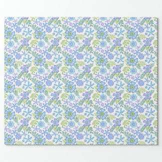 Blossoms of Blue Wrapping Paper