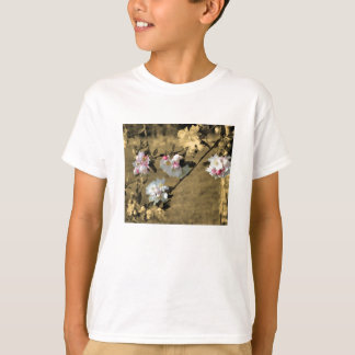 Blossoms On Sepia Girls Floral T Shirt