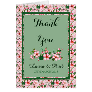 Blossoms pink & green Thank You Card