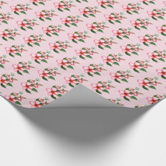 Blossoms pink & green wrapping paper