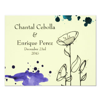 Blotchy flowers blue 11 cm x 14 cm invitation card