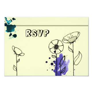 Blotchy flowers blue 9 cm x 13 cm invitation card