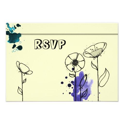 Blotchy flowers blue custom announcement
