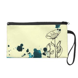 Blotchy flowers blue wristlet purses