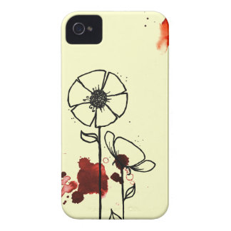 Blotchy flowers red iPhone 4 case