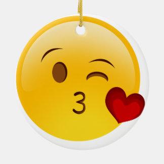 Blow a kiss emoji Double-Sided ceramic christmas Round Ceramic Decoration