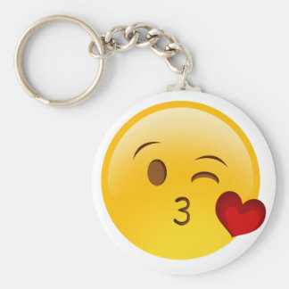 Blow a kiss emoji sticker basic round button key ring
