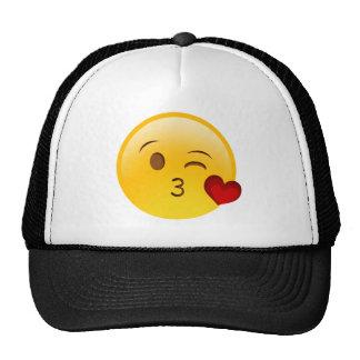 Blow a kiss emoji sticker cap