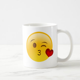 Blow a kiss emoji sticker coffee mug