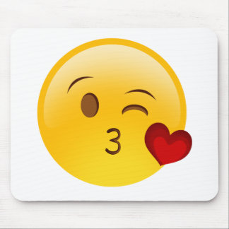 Blow a kiss emoji sticker mouse mat