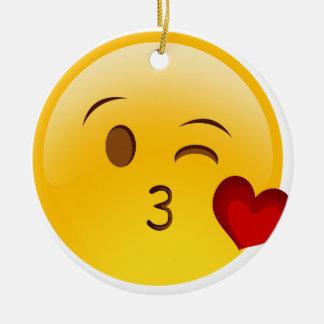 Blow a kiss emoji sticker round ceramic decoration