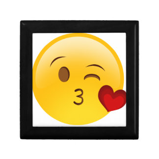 Blow a kiss emoji sticker small square gift box