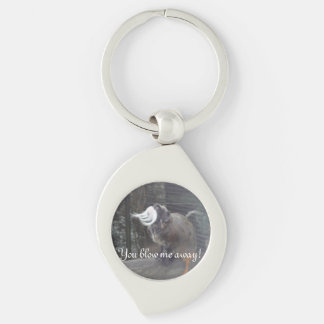 Blow me away Monkey! Silver-Colored Swirl Key Ring