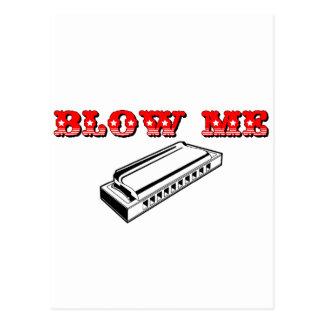 Blow Me = Mouth Organ or Harmonica Postcard