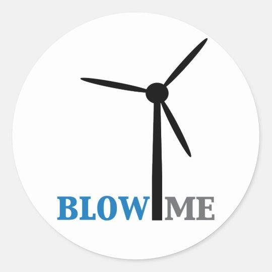 blow me wind turbine classic round sticker