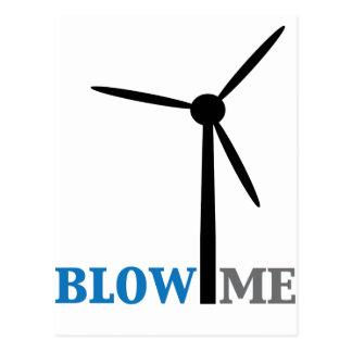 blow me wind turbine postcard
