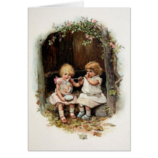 Blowing Bubbles Vintage Girls Card