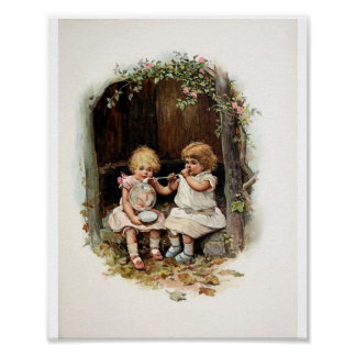 Blowing Bubbles Vintage Girls Poster