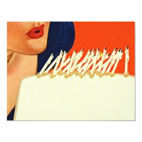 Blowing Out Candles Woman's Birthday Party Invite