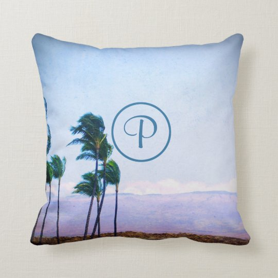 Blowing palm trees photo custom monogram pillow