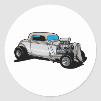 Blown Street Rod Round Sticker