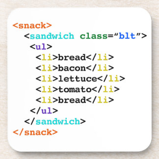 BLT HTML Funny Geek Sandwich Coaster