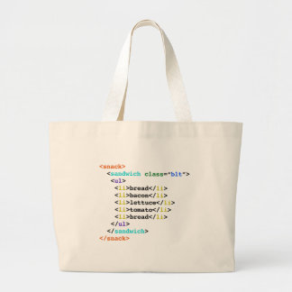 BLT HTML Funny Geek Sandwich Jumbo Tote Bag