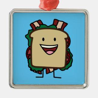 BLT Sandwich Bacon Lettuce and Tomato Foods Design Silver-Colored Square Decoration