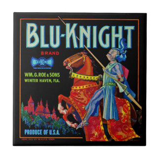 Blu Knight Fruit Label Small Square Tile