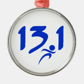 Blue 13.1 half-marathon christmas ornament