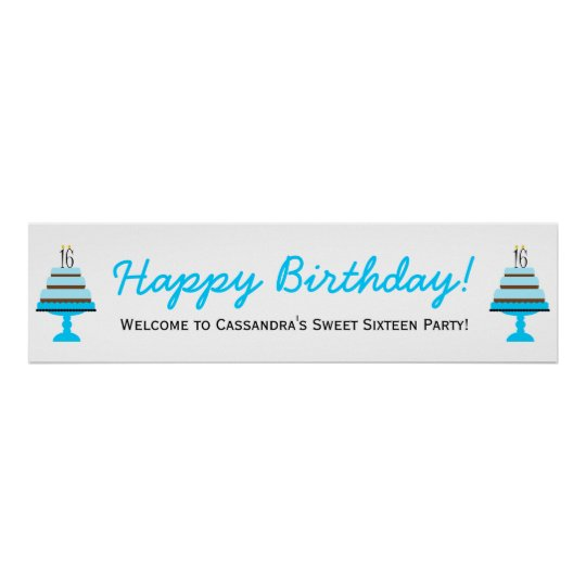 Blue 16th Birthday Cake Party Banner Poster