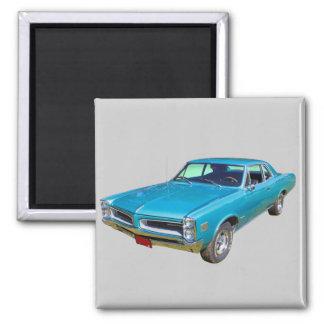 Blue 1966 Pontiac Le Mans Muscle Car Refrigerator Magnets