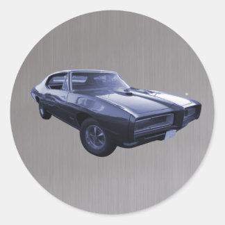 Blue 1968 Pontiac GTO brushed steel Round Sticker