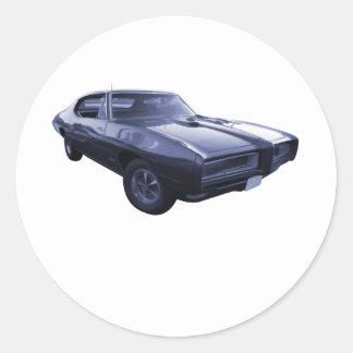 Blue 1968 Pontiac GTO Classic Round Sticker