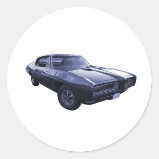 Blue 1968 Pontiac GTO Round Sticker