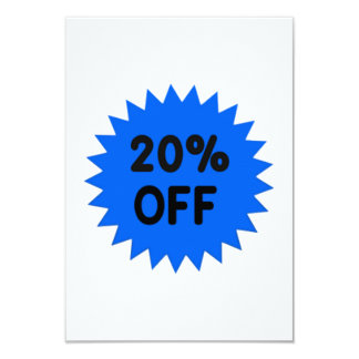 Blue 20 Percent Off 9 Cm X 13 Cm Invitation Card