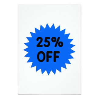 Blue 25 Percent Off 9 Cm X 13 Cm Invitation Card