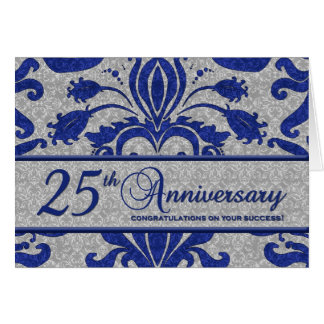 Blue 25th Anniversary Business Greeting Card