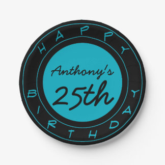 Blue 25th Birthday Party Personalized Paper Plates 7 Inch Paper Plate
