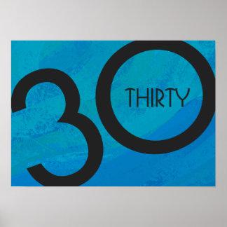 Blue 30 Decade Birthdday Poster