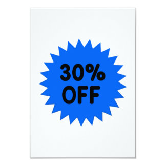 Blue 30 Percent Off 9 Cm X 13 Cm Invitation Card