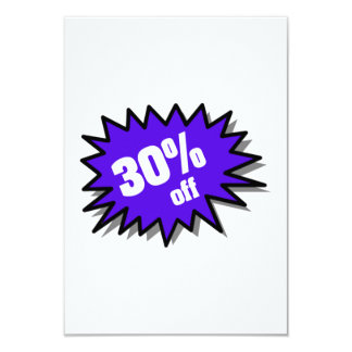 Blue 30 Percent Off 9 Cm X 13 Cm Invitation Card