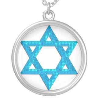 Blue 3 Glitter Star of David Necklace Design