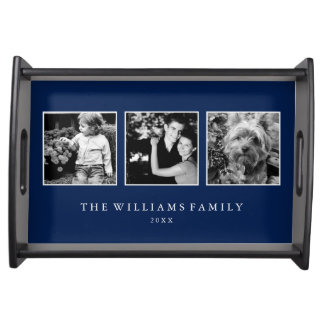 Blue 3-Photo Family Collage Service Trays