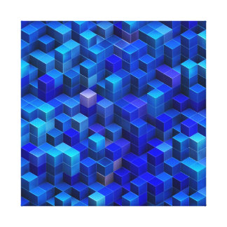 Blue 3D cubes abstract geometric pattern Canvas Print