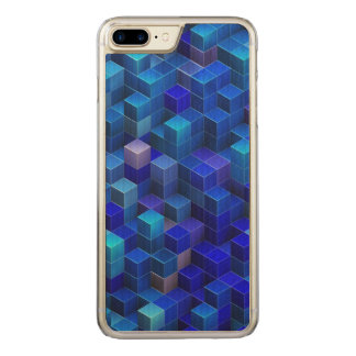 Blue 3D cubes abstract geometric pattern Carved iPhone 8 Plus/7 Plus Case