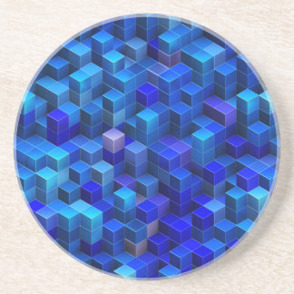 Blue 3D cubes abstract geometric pattern Drink Coasters