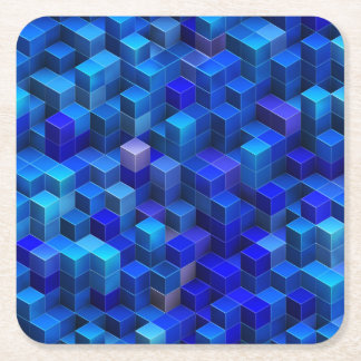Blue 3D cubes abstract geometric pattern Square Paper Coaster